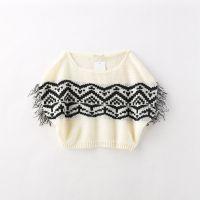 女童针织流苏毛衣 罩衫 蝙蝠衫 欧美针织衫   3-519010