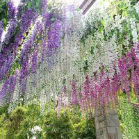 厂家批发高仿真花 塑料紫藤花长豆花 婚庆装饰花壁挂植物花藤枝蔓