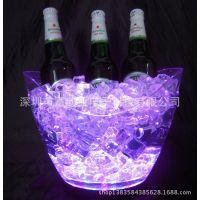 工厂生产透明LED冰桶,10L塑料大冰桶,亚克力发光冰桶