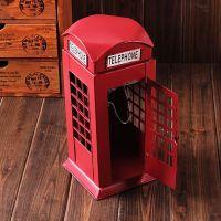 zakka 杂货 做旧复古 铁皮老爷车 伦敦电话亭 红色 中号 A41-7253
