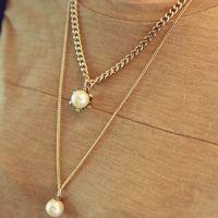 PN460 韩国复古服装配饰 做旧古铜珍珠吊坠 双层项链 毛衣链批发
