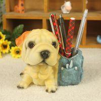 优沃家居树脂工艺品 仿真狗狗 动物摆件 沙皮款笔筒狗狗 可混批