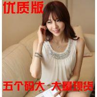 无袖背心吊带打底衫镶钻褶皱白色雪纺衫短袖衬衫女