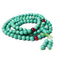 洋洋水晶 天然绿松石佛珠手链6MM多层水晶手串 玛瑙佩珠情侣手链