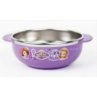 韩国正品进口disney索菲亚公主 儿童304不锈钢餐具防滑隔热大碗
