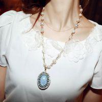 欧美风 椭圆珍珠宝石毛衣链 名媛白搭琥珀裂纹石长款项链 项饰品