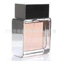 金属肩套玻璃香水瓶 水电镀银色加重盖玻璃香水瓶 100ml香水瓶