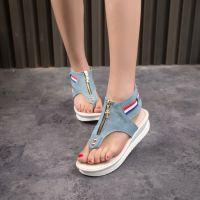 2015春夏新款女鞋松糕底夹趾凉鞋牛仔布金属拉链坡跟鞋