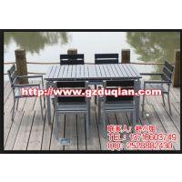 吉安楼盘实木桌椅,井冈山户外家具,铝塑材质水曲柳座椅休闲桌椅