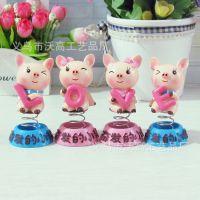 弹簧奋发的小猪 可爱love小猪  情侣摆件  节日礼品 树脂工艺品