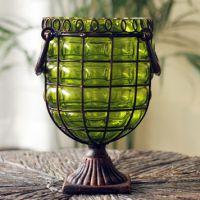 欧式新古典后现代装饰品复古做旧铁艺玻璃花瓶 绿色双耳手提花器