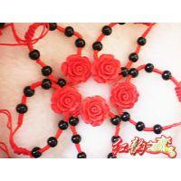 中国红漆雕手链  地摊景区热卖 玫瑰花手链  手工编织