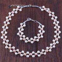 2015 韩国时尚 纯银双排串珠珍珠项链手链套装 珍珠首饰套装批发