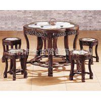 专业生产 梅花云石餐桌 餐厅 饭桌 古典实木红木家具 金古红木
