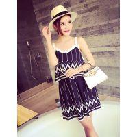 小银子2015夏装新款波浪条纹撞色吊带连衣裙Q5458