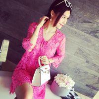 小银子2015夏装新款名媛气质镂空蕾丝假两件系带连衣裙X