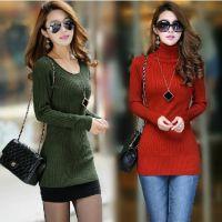 实拍秋冬新款韩版女装修身长袖中长款低圆领打底衫高领加厚毛衣