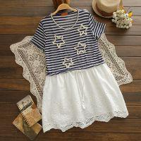 日系外贸工厂女装夏季半袖新款纯棉条纹拼接棉麻6871连衣裙女装