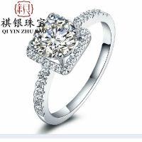 925高端定制18K白金欧美大牌镶钻锆石戒指 女式奢华钻戒方形婚戒
