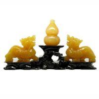 天然水晶摆件天然黄玉貔貅摆件招财转运黄玉葫芦摆件