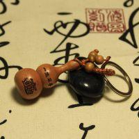 天然雷击木雕钥匙扣葫芦招财进宝 汽车钥匙挂件 钥匙圈链 批发