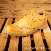 广州皮鞋厂 新款休闲品牌男鞋 布洛克雕花坡跟真皮外贸鞋厂家批发