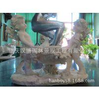 假山树脂雕塑花园小孩与花钵雕塑童趣雕塑玻璃钢仿石头漆城市雕塑