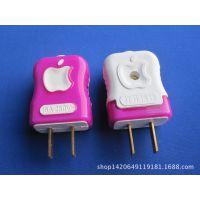 厂家直销 一体成型防爆包胶苹果型两极电源插头 铜片二插只