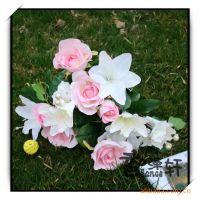优质供应花束绢花假花混装拼箱仿真花玫瑰田园百合