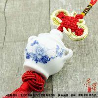 供应批发陶瓷首饰,陶瓷车挂,与佛有缘青花素牡丹JXA006