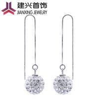韩国饰品 女式长款水晶球耳线 925纯银耳线 超长耳线 现货混批