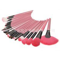 高档刷包爆款热销 粉色进口波斯毛化妆刷配软皮24支化妆刷