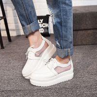 一件代发2015春夏新款女鞋真皮网纱透气平底鞋休闲学院系系带单鞋