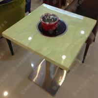 质量保证 韩式四人位电磁炉嵌入式火锅桌 白色大理石火锅桌