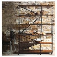美式乡村铁艺书架防锈做旧隔板架墙上置物架展示架收纳架隔断柜