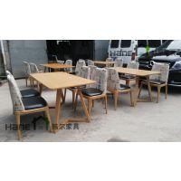 实木桌椅 上海西餐厅复古西餐厅桌椅 韩尔家具供应