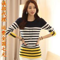 秋季新款韩版修身条纹针织衫修身打底衫