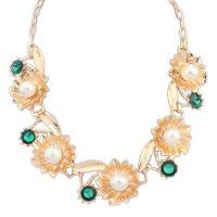欧美时尚唯美花朵珍珠项链 冉阮饰品加工批发饰品 外贸女性首饰