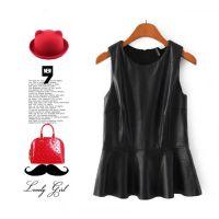 #ZA1   欧美风   新品时尚PU皮下摆裙无袖上衣连衣裙批发  X8592