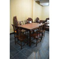 厂家直销东阳红木餐桌-老挝大红酸枝明式餐桌-餐厅餐桌椅七件套组合