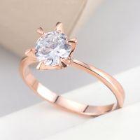 G&Y高档饰品18K金  超闪六爪锆石钻戒铜微镶锆石戒指 欧美流行