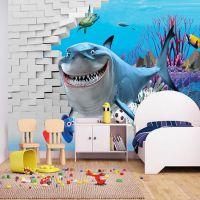 酒店主题海底世界壁画批发 无纺布墙纸定制 宾馆床头3D海洋墙画厂家