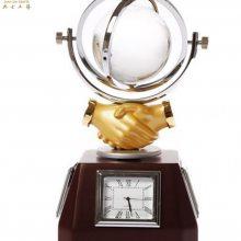 木质地球仪摆件,时钟办公纪念品,开业庆典礼品,十周年嘉宾留念品[典士工艺]