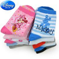 正品迪士尼男童女童袜儿童宝宝棉袜5双组春秋冬厚袜子