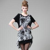 2015夏季女装新款时尚欧美宽松大码显瘦修身针织碎花雪纺连衣裙