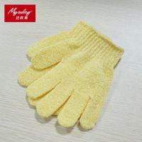 韩国黄色洗浴搓澡手套 洗澡手套 五指尼龙沐浴手套 厂家批发