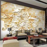 3d背景墙 玉雕牡丹浮雕电视背景图 中国风客厅装饰仿真花装修墙面