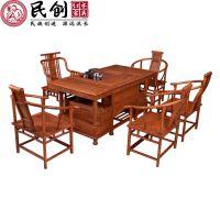 厂家直销古典全实木红木非洲花梨牡丹茶桌将军茶台功夫茶桌单茶桌
