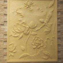 宜宾砂岩厂家直销酒店会所欧式中式牡丹花开富贵浮雕仿砂岩背景墙壁画