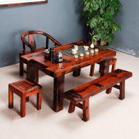 郑州功夫茶桌专卖店 实木中式茶几泡茶艺桌榆木茶台特价 茶桌椅组合